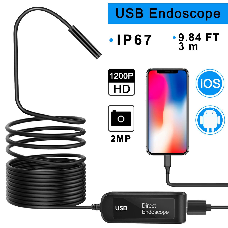 ATUP Inspection Camera for iPhone IOS Android, USB Endoscope 2.0 MP Semi-rigid Borescope 1200P HD 1000 mAh Battery Waterproof Endoscope Inspection Snake Camera - 9.84FT/3m