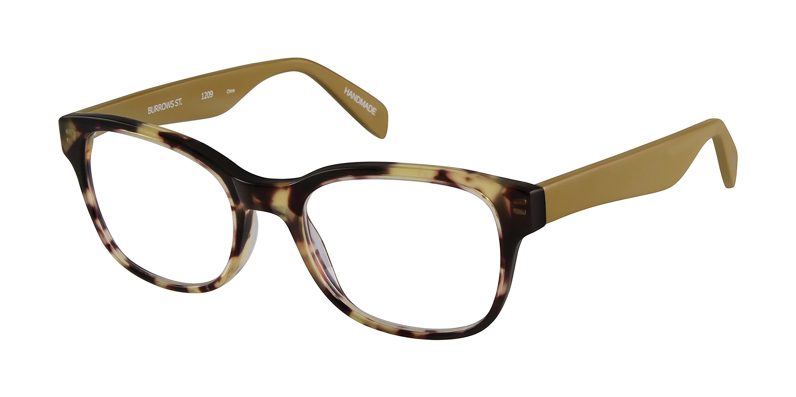 Burrows Street - Square Trendy Fashion Reading Glasses for Men and Women - Tortoise/Goldenrod Tan (+2.50 Magnification Power)