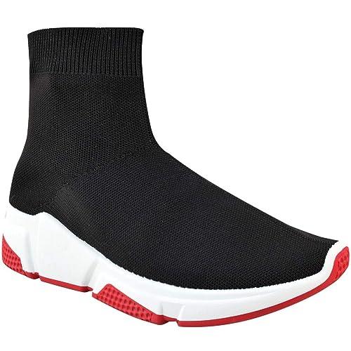 Fashion Thirsty Mujer Calcetines Punto Plano Zapatillas Speed Corredores Deporte Zapatos Talla - Negro Punto/Blanco Rojo Suela, 39: Amazon.es: Zapatos y ...