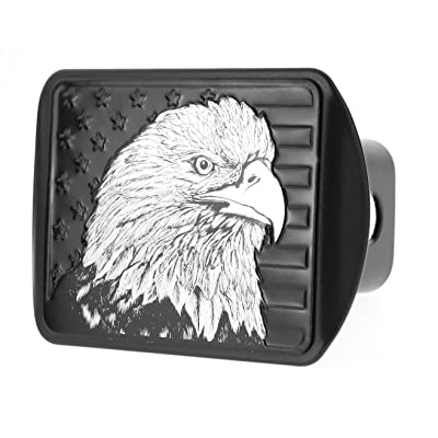 "eVerHITCH USA US American Flag Eagle Metal Flag Emblem on Metal Trailer Hitch Cover (Fits 2"" Receiver, Black Flag): Automotive"