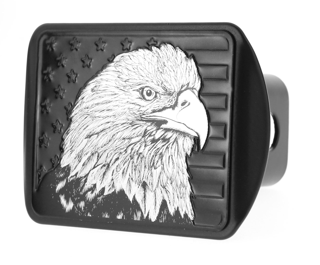 USA US American Flag Eagle Metal Flag Emblem on Metal Trailer Hitch Cover (Fits 2'' Receiver, Black flag) by eVerHITCH