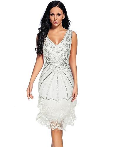 Review Women's 1920s V Neck Flapper Dress Sequin Embellished Gatsby Tassels Cocktail Dress