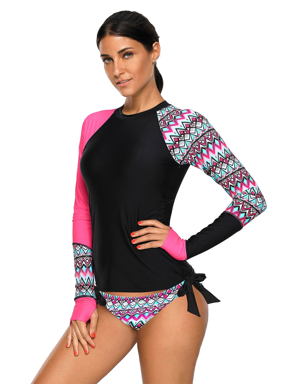 GRAPENT Women's Hot Pink Long Sleeves Aztec UPF 50+ Rash Guard Athletic Swim Shirt Swimsuit Size M