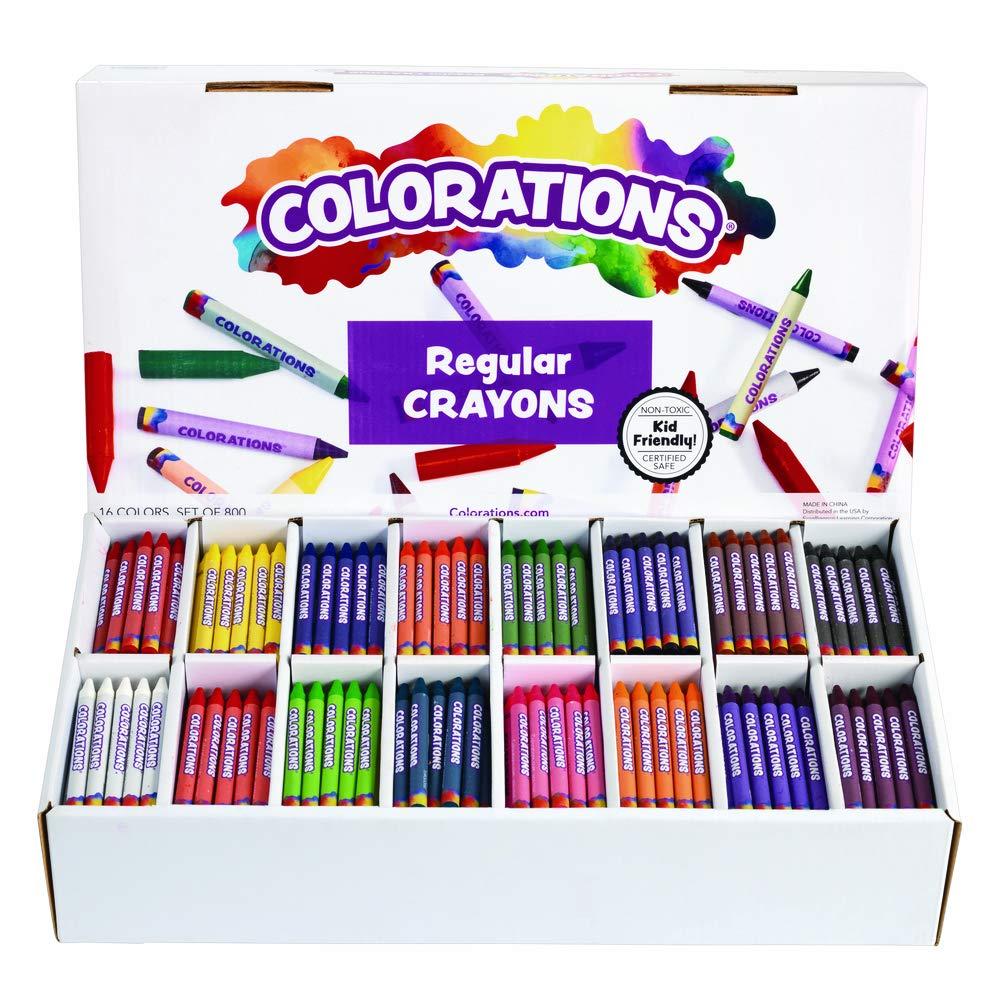 Colorations Regular Crayons Classroom Set 16 Colors 800 Crayons by Colorations