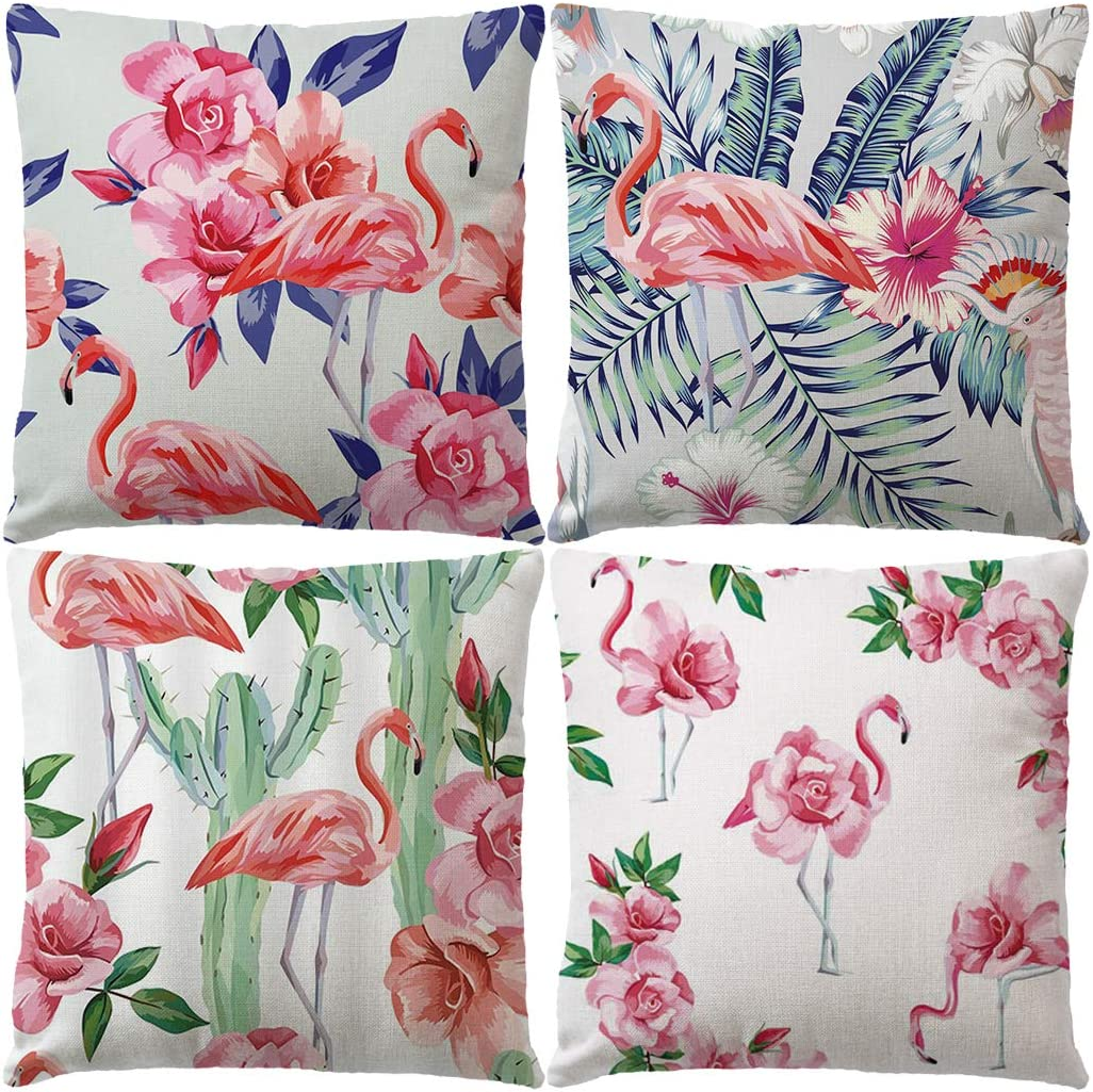 "7COLORROOM Set of 4 Rose Flowers Pillow Cover Pink Flamingo with Tropical Plants/Cactus Cushion Cover Floral Cotton Linen Home Decorative Pillowcases 18""×18""for Patio Sofa Couch(Pink)"