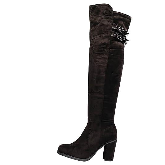 Damen Overknee Stiefel Boots Stiefeletten Glitzer HIgh Heels gefüttert ST690 (37, Schwarz)