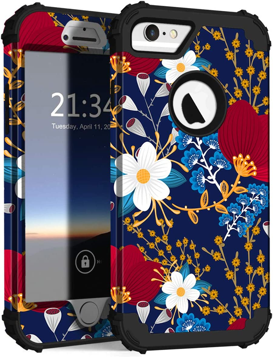 Hocase iPhone 6s Case, iPhone 6 Case, Shockproof Heavy Duty Hard Plastic+Silicone Rubber Bumper Full Body Protective Case with 4.7-inch Display for iPhone 6s, iPhone 6 - Creative Flowers