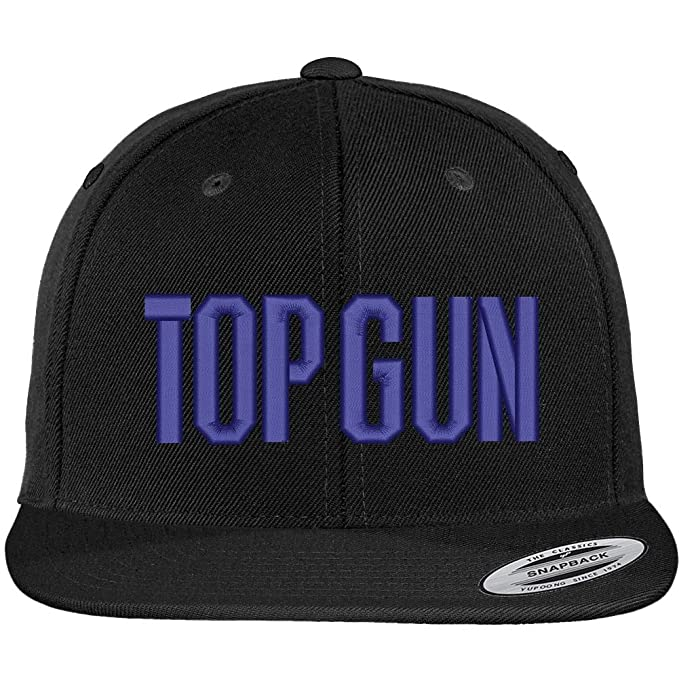 bb24a6a2f740da Trendy Apparel Shop Flexfit Top Gun Oversized Embroidered Snapback Cap -  Black