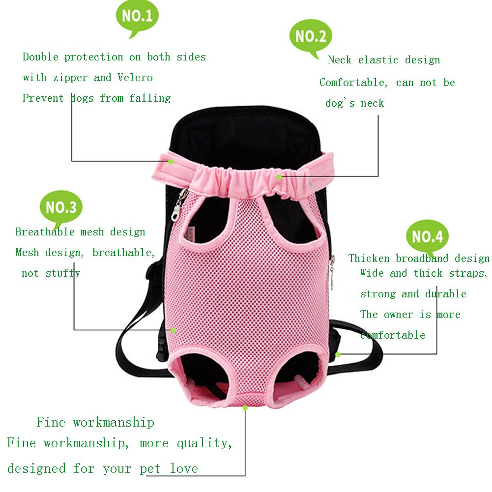 YAOBAO Adjustable Pet Front Cat Dog Carrier Backpack And Travel Bag Pet Dog Carrier Front Chest Backpack Legs Out Easy-Fit For Traveling Hiking Camping,Pink