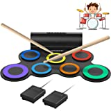 ORASANT Real-Effect Rechargeable Portable Electronic Drum Set, Multi-Functional Electric Drum Set with Volume Adjustable Buil