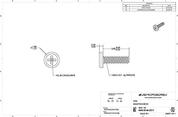 m0.8 – 0,2 x 3 mm acero inoxidable tornillo de máquina pan cabeza Phillips Drive (100 pcs) – M08 – 30-m-ss-p: Amazon.es: Bricolaje y herramientas