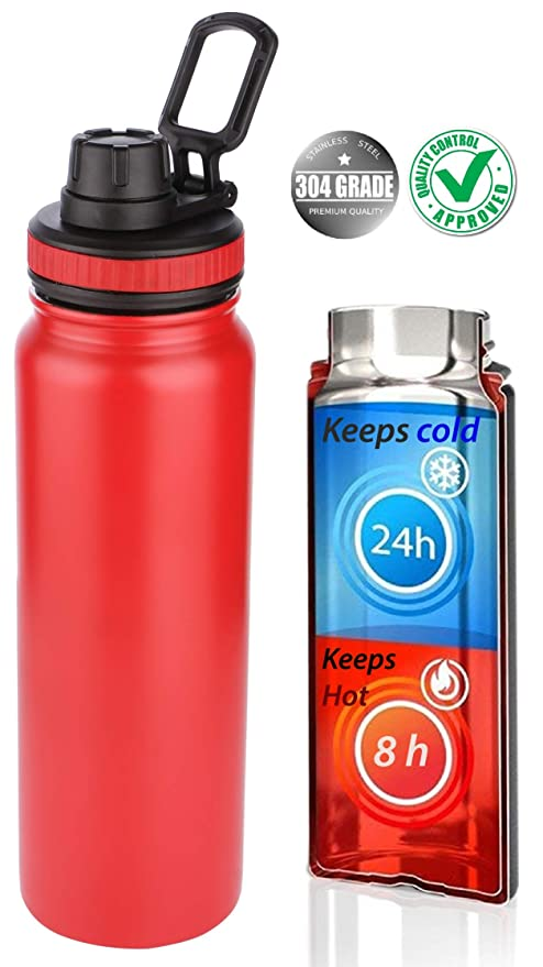 304  Stainless Steel Water Bottle Double Vacuum Insulated Sports Gym Metal Flask