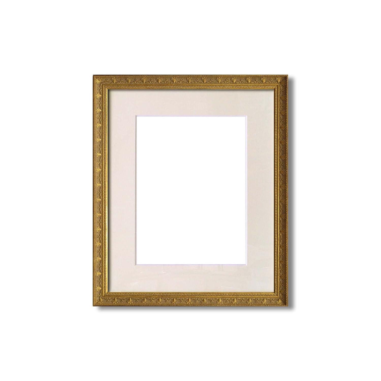【額縁】アンティーク水彩額イタリアン水彩額 ■水彩額 マット付 (ホワイト, F8) B011I07O5Y F8|ホワイト ホワイト F8