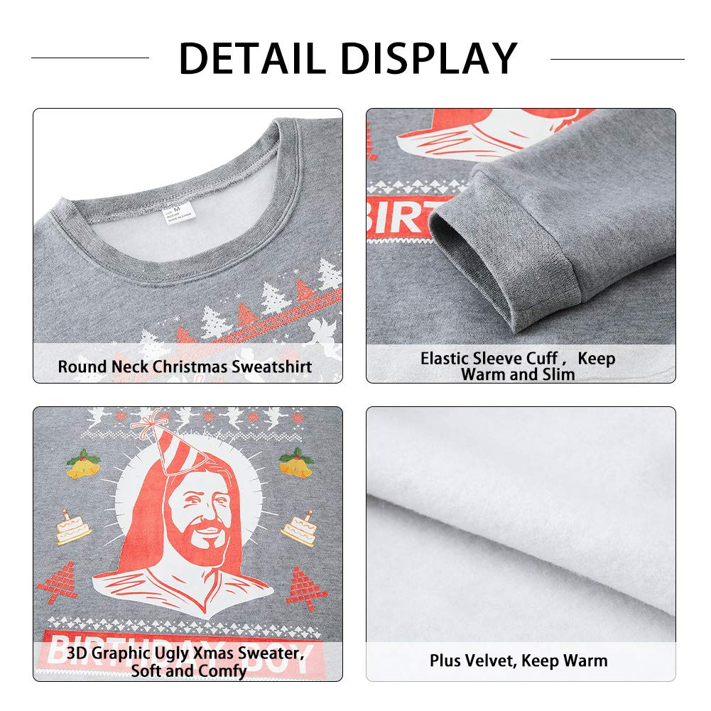 SKYRAINBOW Girls Boys Christmas Sweater Print 3D Ugly Xmas Sweatshirt Crew Neck Thick Pullover Loose Fit Jumper Easter Clothes for Holiday Party Grey XL