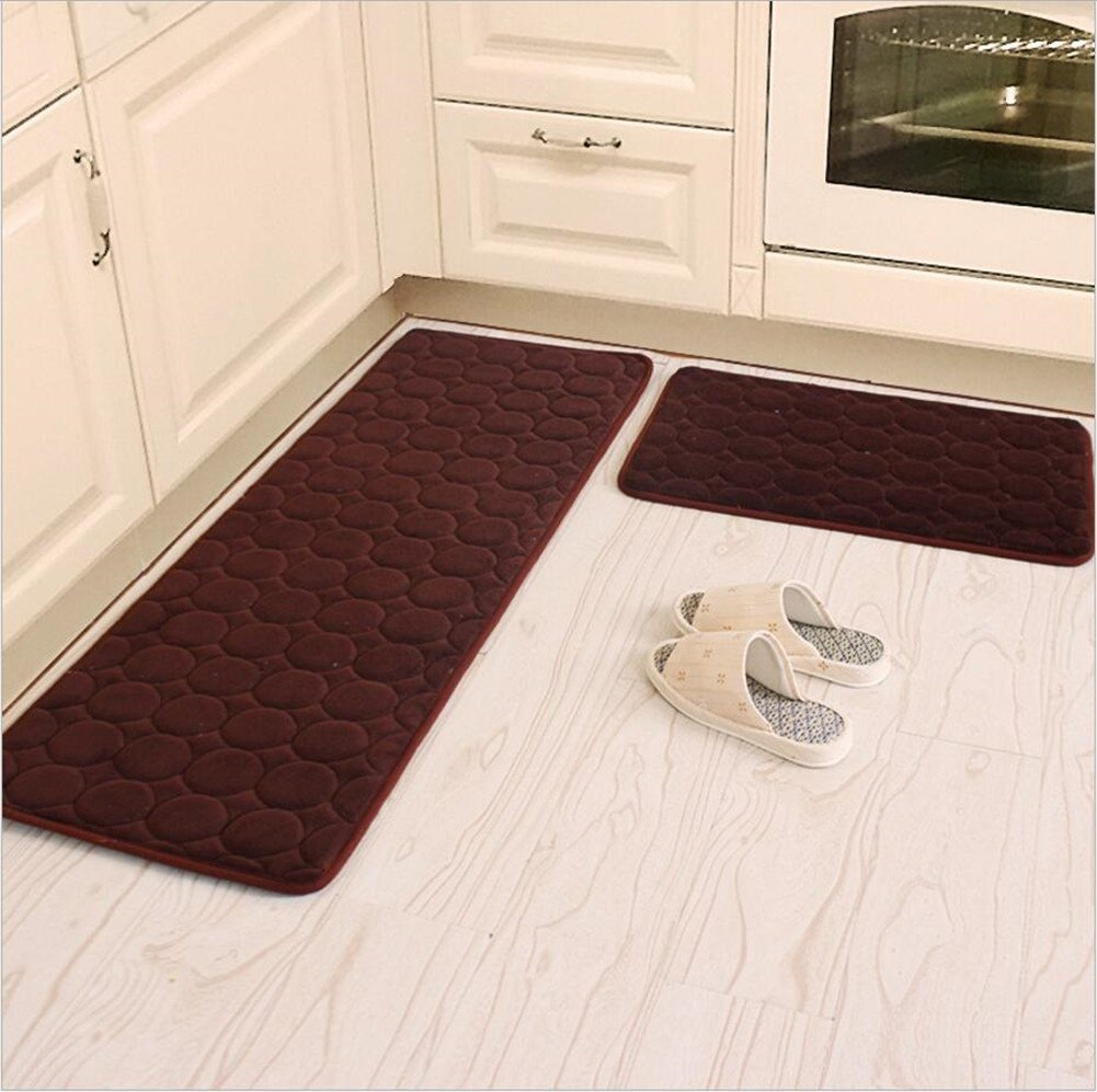 Kitchen Rugs,CAMAL 2 Pieces Non-Slip Memory Foam Kitchen Mat Rubber Backing Doormat Runner Rug Set (16x24+16x48, Brown) CAMALHK0137