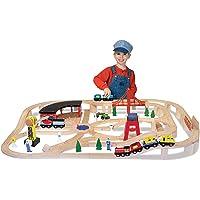 Melissa & Doug 130-Piece Deluxe Wooden Railway Train Set
