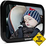 Baby Car Mirror - For Rear Facing Car Seats - Large, Secure Fit Baby Mirror - Easily View Infant In Backseat - Best Newborn Baby Accessory For Travel - Safety Tested + FREE Baby-On-Board Sign