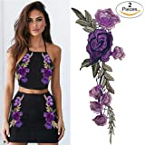 Transer 2PC DIY Embroidered Roses Floral Collar Sew Patch Sticker Applique Badge