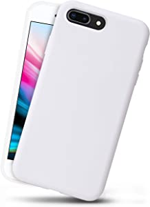 OCOMMO iPhone 8 Plus Silicone Case, iPhone 7 Plus Silicone Case, Full Body Drop Protective Gel Case with Soft Lining, Wireless Charge Pad Compatible, White