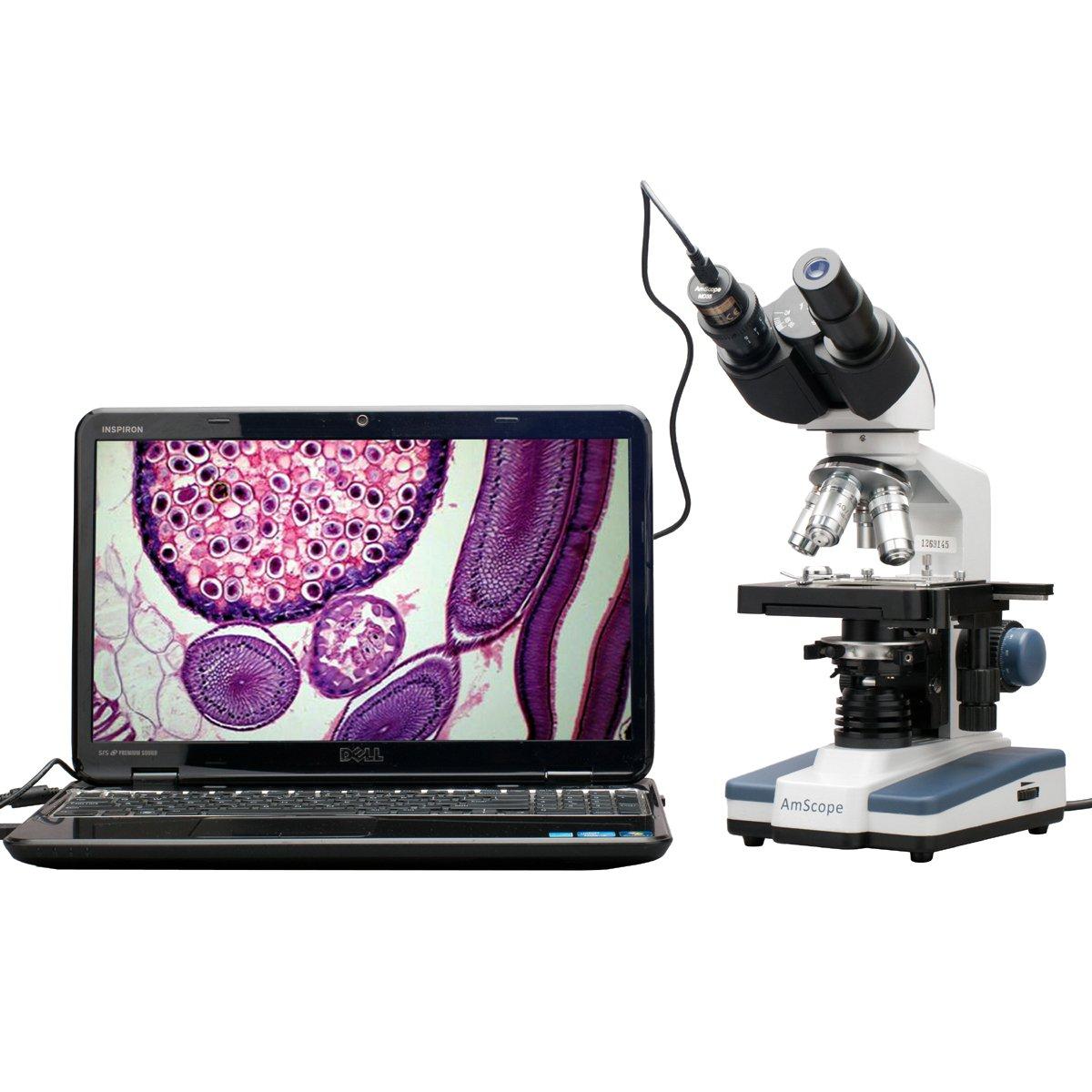 40X-2500X LED Digital Binocular Compound Microscope w 3D Stage + 5MP USB Camera by AmScope