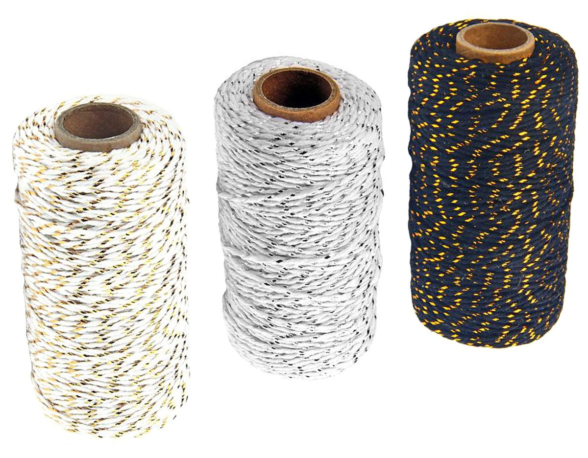 3 Roll Christmas Two-Color Gold Wire Combined Cotton Thread - 109 Yards/Roll - Xmas Hand Weave DIY Gift Wrapping Belt and Tag Fine Cotton Rope (White + Gray + Black) by Nicedmm