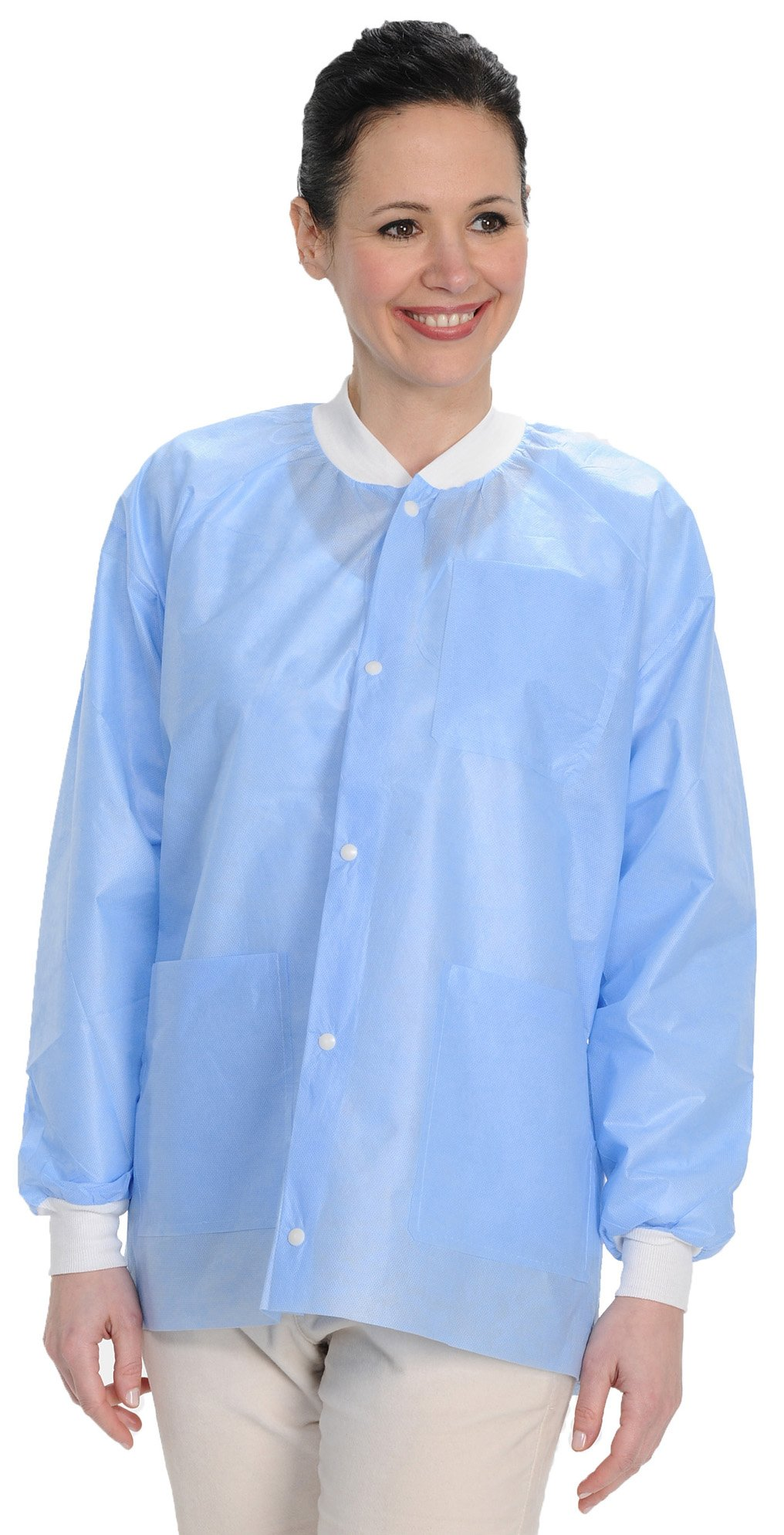 ValuMax 3530MBXS Easy Breathe Cool and Strong, No-Wrinkle, Professional Disposable SMS Hip Length Jacket, Medical Blue, XS, Pack of 10