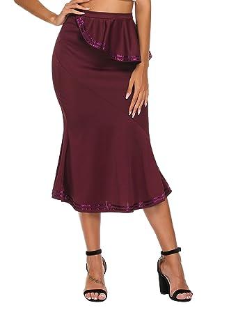 7925de4483 Zeagoo Women's Elastic High Waist Mermaid Fishtail Ruffle Package Hip  Pencil Skirts Wine Red S