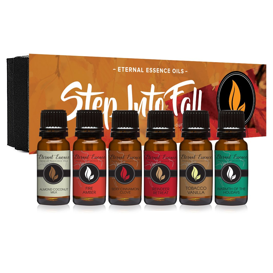 Step Into Fall Gift Set of 6 Premium Fragrance Oils - Almond Coconut Milk, Fire Amber, Sexy Cinnamon Clove, Reindeer Retreat, Warmth of The Holidays, Tobacco Vanilla - Eternal Essence Oils by Eternal Essence Oils