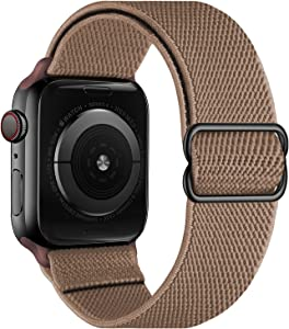OXWALLEN Stretchy Nylon Solo Loop Compatible with Apple Watch Bands 38mm 40mm, Adjustable Elastic Braided Stretches Sport Women Men Strap for iWatch SE Series 6/5/4/3/2/1,Light Brown