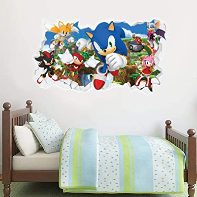 Sonic The Hedgehog Wall Sticker All Characters Smashed Wall Decal Vinyl Mural Kids Bedroom Art (90cm Width x 45cm Height): Baby