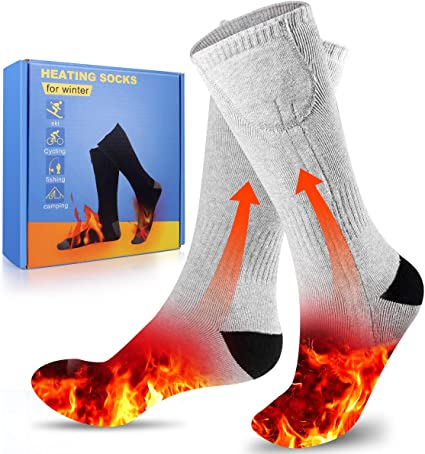 CAVEEN Heating Socks Double-Sided Heated Socks Rechargeable Battery 3-Level Heating Settings Cotton Socks for Winter Outdoor Sport Camping Hiking S