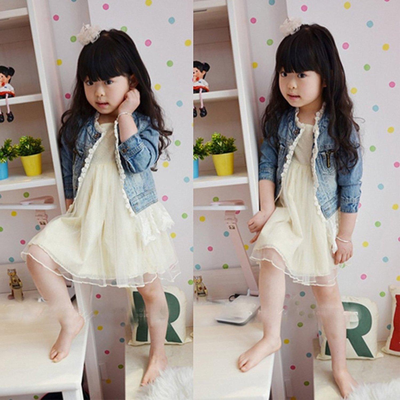 Girls Kids Fashion Jean Jacket Denim Jeans Lace Outwear Cowboy Overcoat