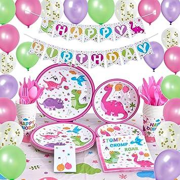 WERNNSAI Dinosaurio Suministros para la Fiesta - Decoraciones de la Fiesta de Cumpleaños para Chicas Bandera Globos Manteles Platos Tazas Servilletas ...