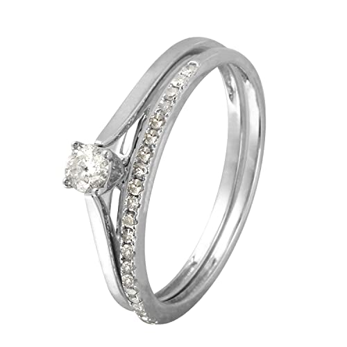 Anillos de boda de oro blanco de 14 quilates con diamante natural de 0,23