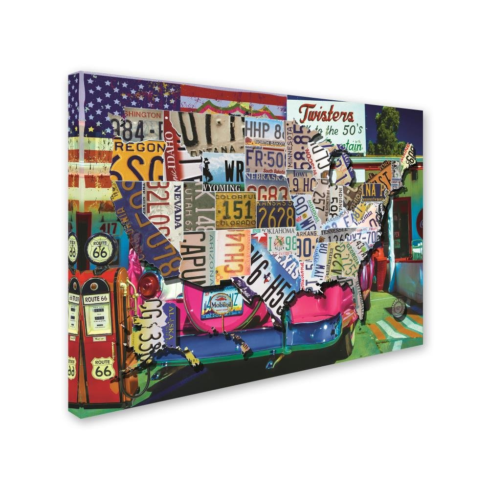Amazon.com: USA License Plate Map Route 66 by Masters Fine Art ...
