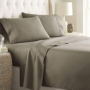 LINENWALAS King Sheet Set | 800 Thread Count - 100% Pure Cotton Elephant Grey Sateen Sheets - Deep Pocket King Sheets - Deal of The Day -Bedding, India (King, Elephant Grey)