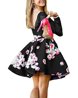 3c6ef1855b Bonnie Lace Bodice Homecoming Dresses 2019 Short Two Piece Floral Print  Prom Party Dress Long Sleeves