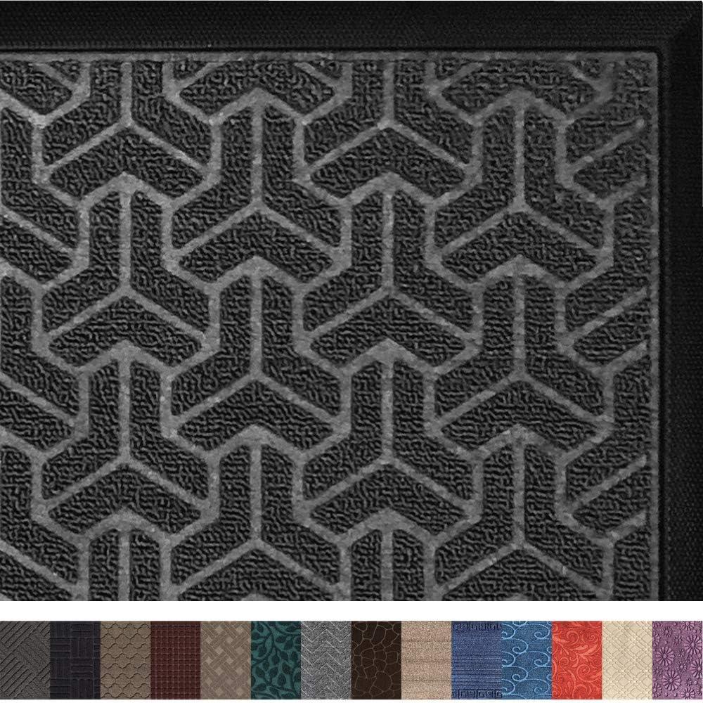 Gorilla Grip Original Durable Rubber Door Mat, 29x17, Heavy Duty Doormat, Indoor Outdoor, Waterproof, Easy Clean, Low-Profile Rug Mats for Entry, Garage, Patio, High Traffic Areas, Gray Geometric