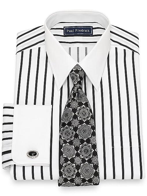 Men's Vintage Style Clothing Paul Fredrick Mens Cotton Satin Stripe Dress Shirt $84.50 AT vintagedancer.com