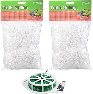 CSRTONI 2 Pack Trellis Netting Garden Plant Net w/ 6