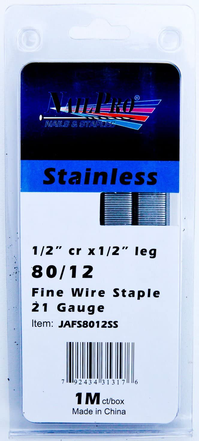 1000 Count NailPRO 80//10SS 21 Ga 3//8 Leg x 1//2 Crown Stainless Steel Fine Wire Staples