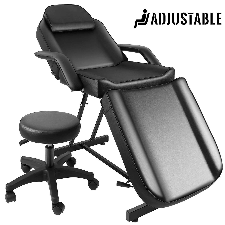 JOYBASE Massage Bed, Adjustable Massage Table with Barber Stool, Spa Salon Massage Equipment (Black) by JOYBASE