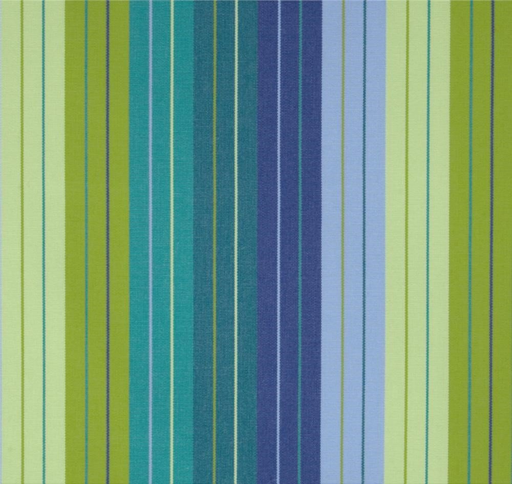RSH Décor Indoor/Outdoor Sunbrella Curtain Drapery Panel with Rod-Pocket (Sunbrella Seville Seaside Periwinkle, Lime, Turquoise Blue - Green Stripe, 50'' W x 84'' L)