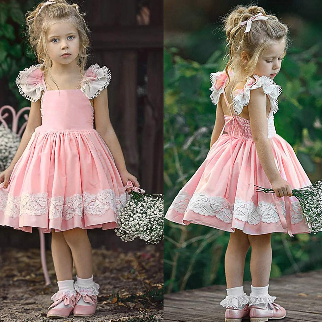 Baby Toddler Girls Summer Lace Dresses Clothes 1-5 Years Old Kids Sleeveless Backless Tassel Princess Dress