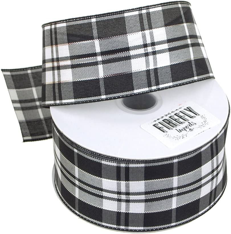 1-1//2-Inch 10 Yards Homeford Firefly Imports Plaid Checkered Wired Christmas Ribbon 1.5 Black