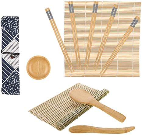 Sushi Maker Set f/ür Anf/änger Sushi Selbst Machen Set Sushi Maker Set f/ür Anf/änger SUSSURRO Sushi Set Bambus Sushi Matte 12 Teile