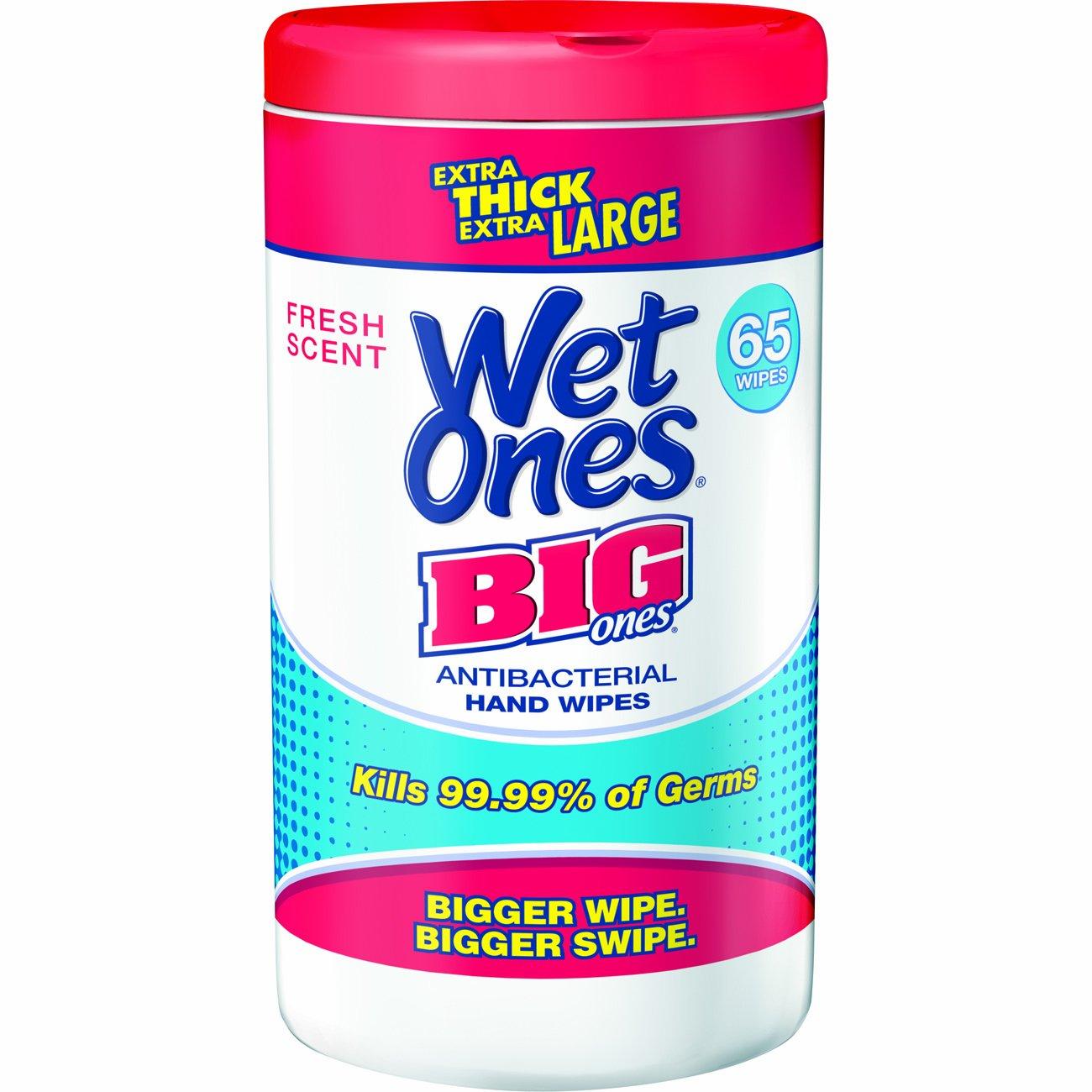 Wet Ones Big Ones Fresh Scent Antibacterial Wipes, 65 Count - Pack of 4 by Wet Ones