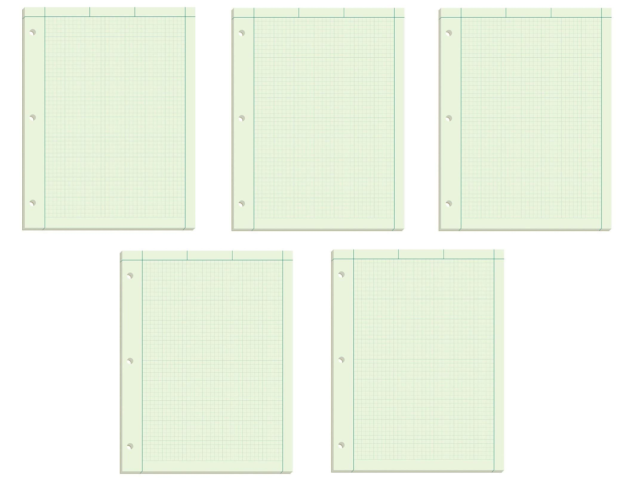 Ampad Evidence Engineering Pad, 100 Sheets, 5 Squares Per Inch, Green Tint, 11'' H x 8 1/2 W, Pack Of 5, 500 Sheets Total (22-142) by Ampad
