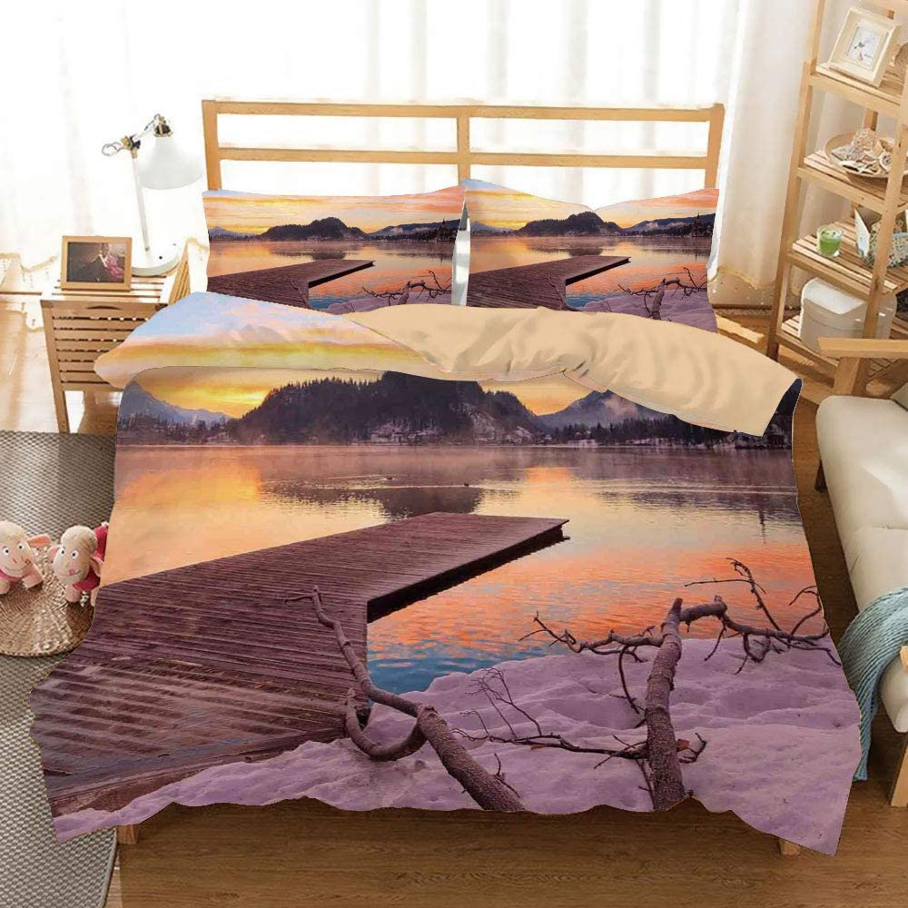 Seascape Khaki Duvet Cover Set Twin/Twin XL Size,Bled Lake Sand Hills Branches Waterscape Sunlights Sunrise Morning View,Decorative 3 Piece Bedding Set with 2 Pillow Shams,Orange Umber Lilac