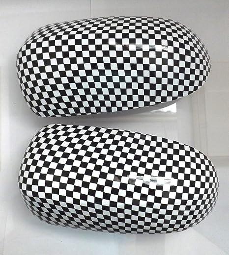 Espejo tapas Objetivo Bandera de cuadros de diseño negro/blanco para Corsa C Transferencia de